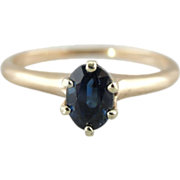 Rich Blue Sapphire Ring, Sapphire and Gold Solitaire