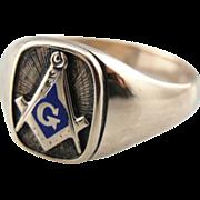 Fine 10K Rose Gold and Royal Blue Enamel Masonic Ring