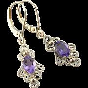 Romantic Filigree Earrings with Pretty Purple Amethyst