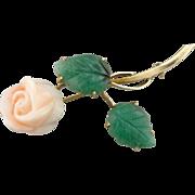 A Rose of Angels Skin: Vintage Coral and Aventurine Brooch in 18K Gold