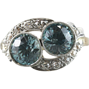 Retro Redux: Vintage Cocktail Ring with Sweeping Diamond Frame, Blue Zircon Stones