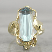 Green Gold and Aquamarine Ring in Naturalist, Art Nouveau Style