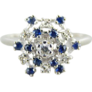Diamond and Sapphire Snowflake Cluster Cocktail Ring