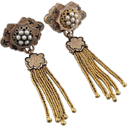 Exceptional Victorian Tassel Earrings, 10K Rose Gold, Cultured Pearls & Enamel. Pierced