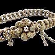 Antique Victorian 14K Gold & Diamond Lover's Knot Bracelet, Pretty Repousse Link