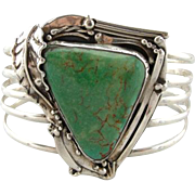 Modernist Turquoise Sterling Silver Cuff Bracelet