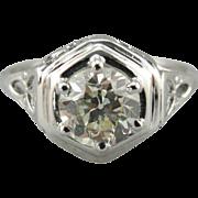 Celtic Knot Themed Art Deco Era Mounting with European Cut Diamond