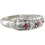Vintage White Gold And Ruby, Diamond Wedding Band