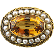 Stunning Victorian Citrine Pendant or Brooch in a Fine Rope Frame Surrounded by Cultured Pearl