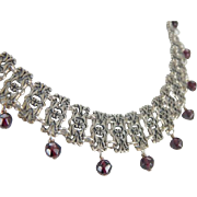 Victorian Style Gothic Collar Necklace with Deep Purple Garnet Beads, Sterling Silver