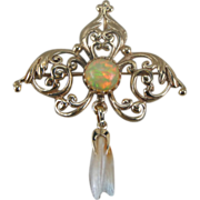 Victorian Scroll Work Pin with Ethiopian Opal and Mississippi Pearl Accent