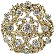 Lacy Snowflake Diamond And Filigree 14K Gold Ring