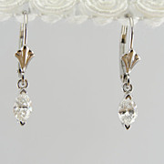 Pretty Marquis Cut Diamond Drop Earrings in White Gold