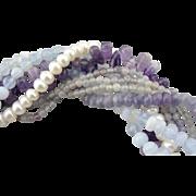 Lavender and Cream Torsade Style Multi Gemstone Bead Necklace
