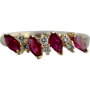 Marquise Cut Ruby and Diamond Band in 14K Yellow Gold, Perfect for Stacking, Layering, Wedding