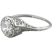 Gorgeous Platinum and Diamond Edwardian Era Mounting Engagement Ring