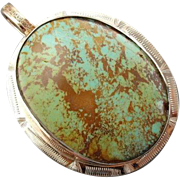 Antique Turquoise And 14K Gold Pendant, Circa 1900's