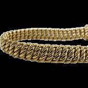 Retro Heavy 18K Gold Mesh Link Bracelet, Unisex