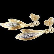 Brushed Drops with Diamonds, Petal Drop Earrings