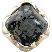 Retro Era Gold and Snowflake Obsidian Ring for Man or Woman