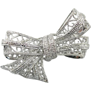 Delicate Filigree and Diamond Vintage Bow Brooch from Retro Era