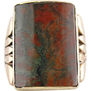 10K Rose Gold and Moss Agate Mens or Ladies Victorian Ring, Rare Barrel Cut