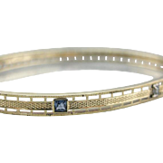 Early 1900's: Sapphire and Diamond Bangle Bracelet in Fine 14K Gold