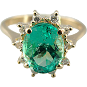 Stunning, Substantial Emerald and Gold Ring for Engagement or Cocktail