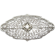 14k White Gold Brooch, Diamond Center, Art Deco