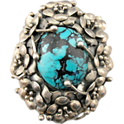 Bold Sterling Silver and Turquoise Flower Motif Pendant or Brooch