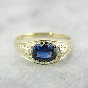 Antique Green Gold and Fine Ceylon Sapphire Ring, Pinky Ring, Small Band Style