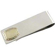 Monogram Ready: Vintage Sterling Silver & 10K Green Gold, Mixed Metal Money Clip