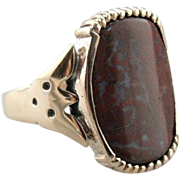 Rare Wingate Pass Plume Agate and Antique Victorian Ring