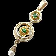 Antique Lavalier Pendant With New Demantoid Garnets