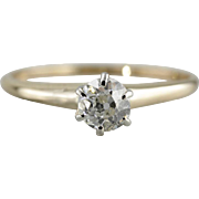 Antique Old Mine Cut Diamond Engagement Ring, Classic Diamond Solitaire from the 1800's