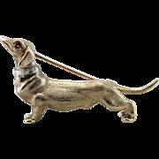 Distinguished Dachshund, Ruby Dachshund Dog Brooch