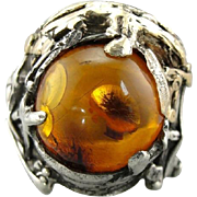 Mid Century Mixed Metal Amber Ring, Signed Artisan Jewelry