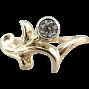 Vintage Freeform, Natural Style 14K Gold Ring with Diamond, Unique Ladies Piece