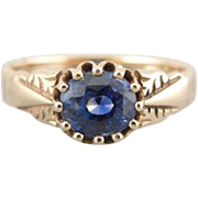 Fine Sapphire in 10K Rose Gold Victorian Ring, Lovely Engagement or Cocktail Piece
