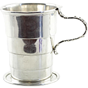 Edwardian Sterling Silver Collapsible Travel Cup, Antique Picnic Gear