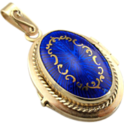 Ornate Cobalt Guilloche Blue Fine Enamel and 14K Yellow Gold Locket