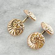 Antique Rose Gold Victorian Cufflinks with Cornucopia Motif