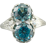 Incredible Art Deco, Double Blue Zircon Cocktail Ring in 18K White Gold