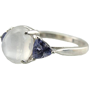 A Blue Moon: Moonstone and Trillion Cut Tanzanite Cocktail Ring
