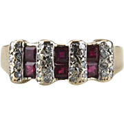 Ruby Windows: Vintage Diamond and Gemstone Ring for Wedding Band or Stacking