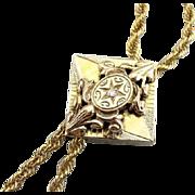 Stunning Art Nouveau Diamond Slide And Antique Watch Chain Necklace