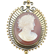 Antique 14K Rose Gold and Fine Stone Cameo Brooch or Pendant from Victorian Era