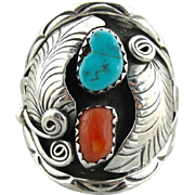 Native American Turquoise and Coral Unisex Statement Ring, Bold Full Finger Design