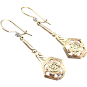 Pretty Posies! Art Nouveau Rose and Green Gold Earrings