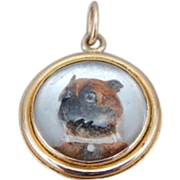 Antique Gold And Reverse Painted Glass Puppy Dog Pendant